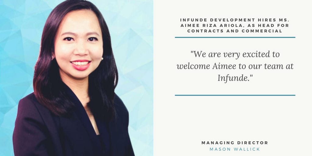 Infunde Development hires Ms. Aimee Riza Ariola, as Head for Contracts and Commercial
